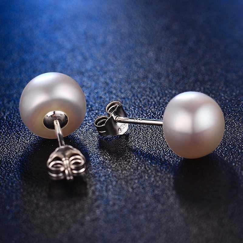 100% d'acqua dolce genuino orecchini di perle rosa dei monili di modo orecchini argento per le donne super affare con il contenitore di regalo 2017 nuovo
