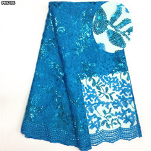 High quality African lace sequin french tulle lace