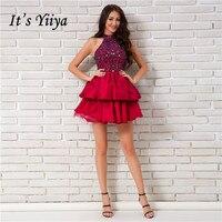 Это YiiYa пикантные красные без рукавов без бретелек Bling блестками молнии коктейльные платья длиной выше колена бальное праздничное платье