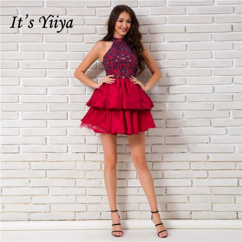 Original Es Ist Yiiya 2017 Oansatz Wein Red Ärmellose Spitze Backless Cocktailkleider Pailletten Stickerei Knielangen Formale Kleid L171 Weddings & Events