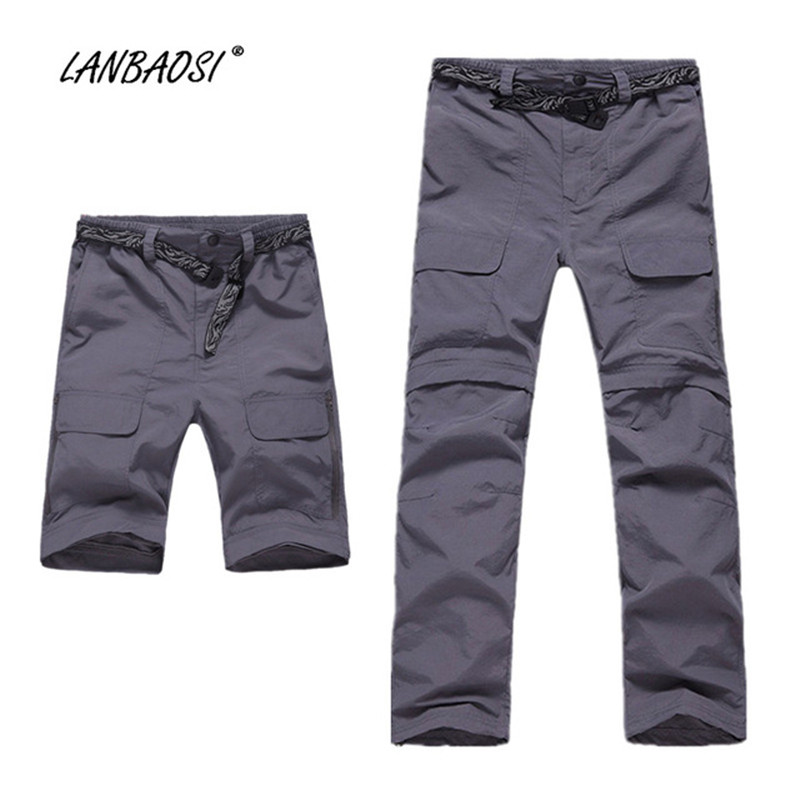 Casual Men's Convertible Pants Lightweight Anti-UV Breathable Quick Dry Zip Off Leg Pockets Waistband Trousers Clothing