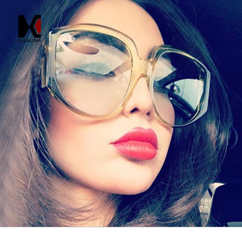 SHAUNA 2018 New Arrival Oversize Women Round Sunglasses Fashion Ladies Olive Green Frame Glasses UV400
