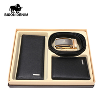 BISON DENIM Christmas Gift For Men Genuine Wallet And Belt Automatic Buckle Men Purse Clutch Male