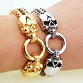 New Fashion Jewelry Style Skull Men bracelets 316L Stainless steel Bangles Boyfriend Gift Silver Gold To Choose