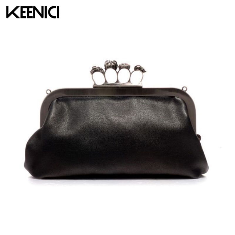 KEENICI Vintage Skull Knuckle Box Ring Hard Day Women Handbags Party Dinner Even