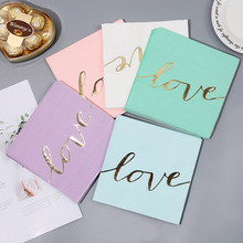 16pcs/pack Disposable Paper Napkins Love Happy Birthday Letter Home Decor Foil Gold Children Birthday Party Decorations(China)
