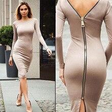 korean style sheath solid back zip-up female dresses sexy new club long sleeve knee length woman