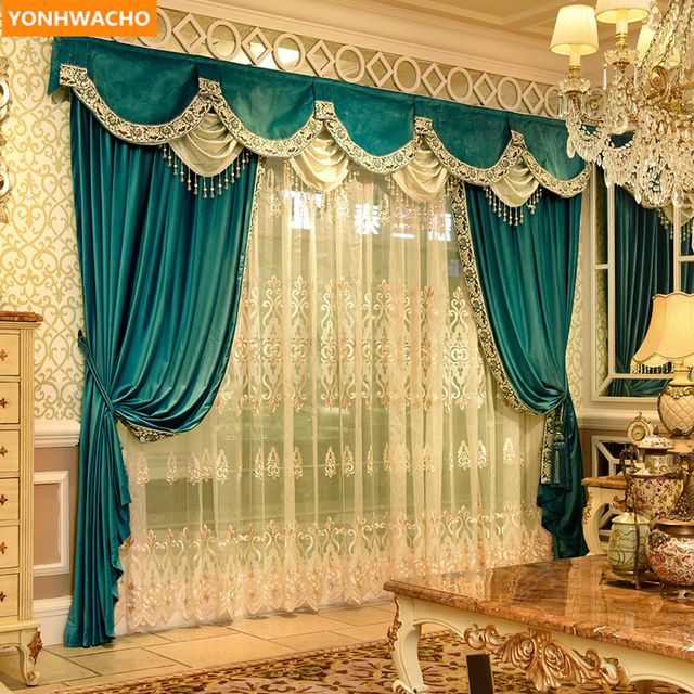 Custom Curtains High Grade European Luxury Modern Blue