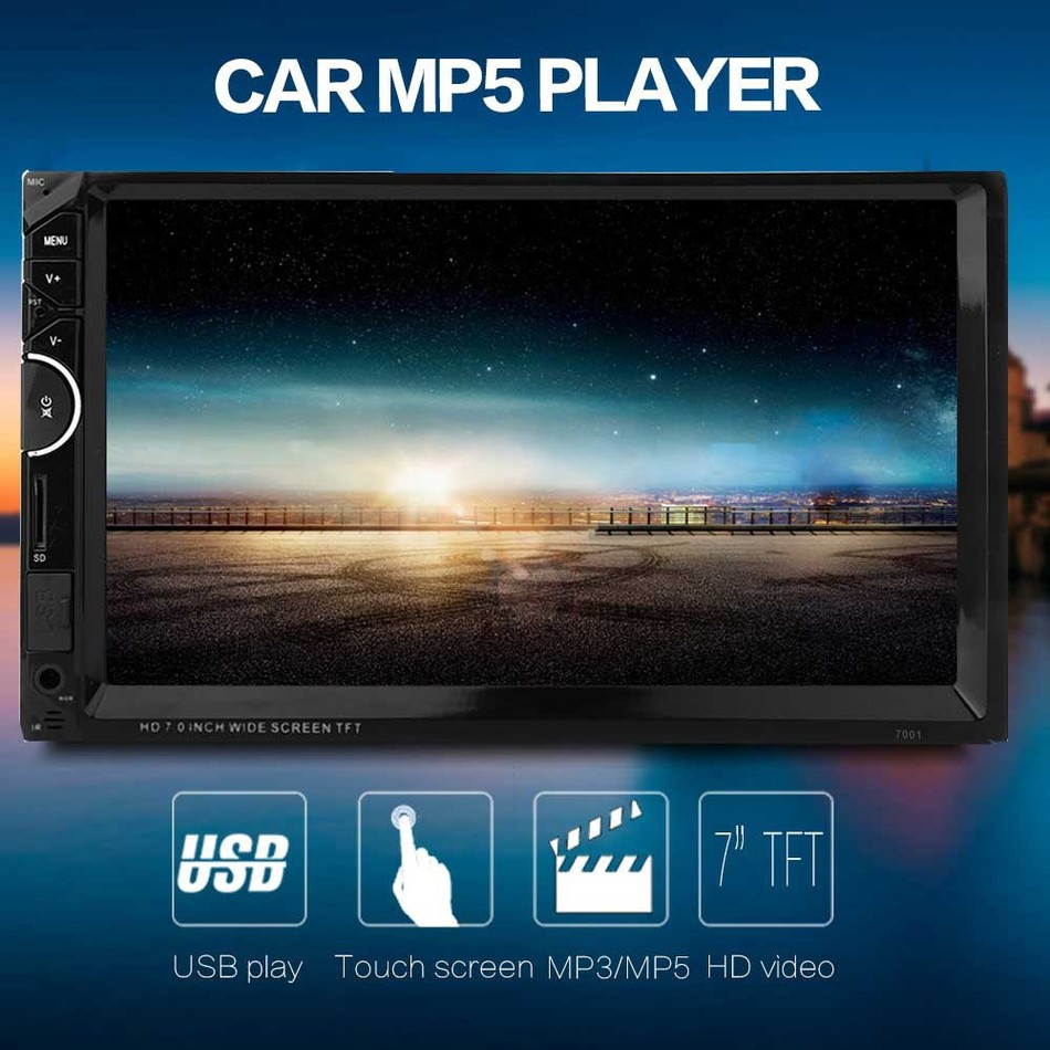 7'' Car 2Din Radio Video Bluetooth MP5 Player Autoradio FM RDS AUX USB HD 1080P In-dash With Remote control Music Movie Player green for ipod nano3 3th generation 32gb fm video e book with film mp3 5 music player free ship a variety of language
