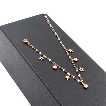 Hot Cute 8 Shape Chain Four Stars Three Crystal Woman Anklets High Quality Titanium Steel Rose Gold Color Woman Like Anklet Gift 2