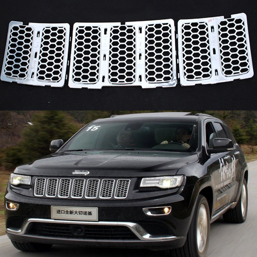 3PCS/Set ABS Chrome Honeycomb Mesh Grille Grill For JEEP