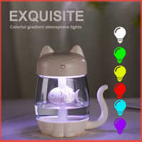 Ultrasonic Aroma Humidifier Essential Oil Diffuser Ultrasonic Air Humidifier 350ml Cat Cool-Mist Adorable Mini Fan with LEDlight