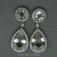 Jewlery Sets Vintage Solid 14k White Gold Green Amethyst Diamond Earrings For Women Fine Amethyst Jewelry