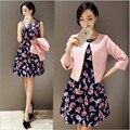 2016 Nova Primavera Queda Mulheres Define Sexy Magro Tanque Casual vestido Com Jaquetas Two-piece Set Twinset Elegante Vestido Com O Botão Blazer