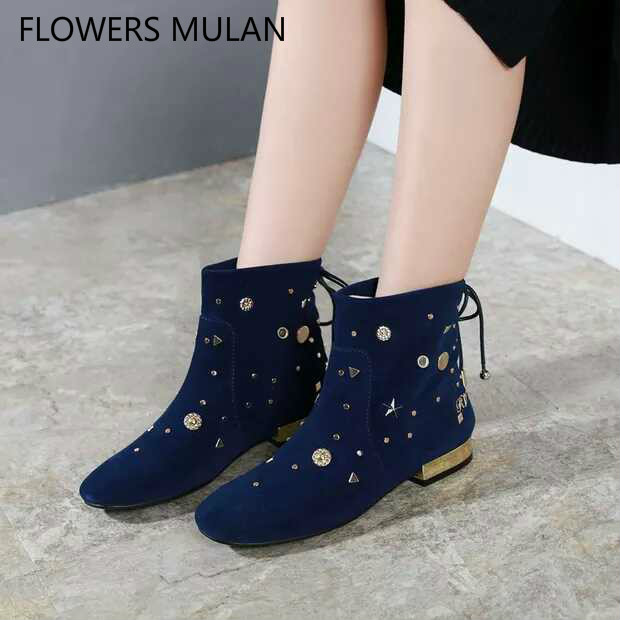 2018 New Autumn Winter Women Ankle Boots Black Blue Suede Upper Low Chunky Heel Pointed Toe Martin Boots Lady Back Lace Up Botas цены онлайн