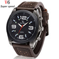 Luxury Top Brand V6 High Quality Men Watches Fashion Casual Leather Strap Quartz Watch Sports Military Wristwatch waterproof