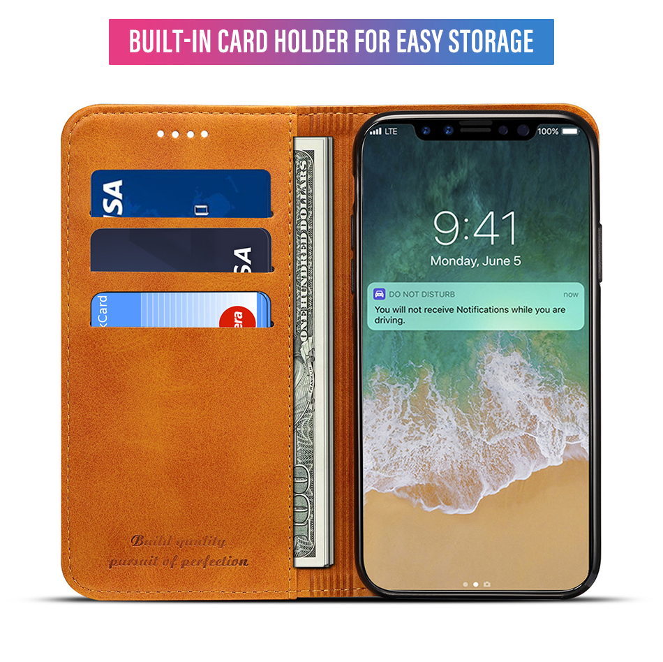 !ACCEZZ Luxury Leather Phone Case Card Pocket Full Protective Cover For iphone X XS MAX XR Wallet Flip Cases Shell Stand Holder (8)