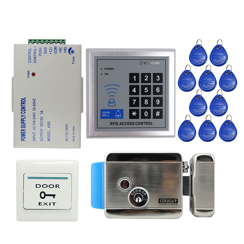 Free Shipping Cheap Rfid Door Access Control System Kit + Electric Door Lock with Key + RFID Reader Keypad + In Stock Wholesale access control lock metal mute electric lock rfid security door lock em lock with rfid key card reader for apartment hot sale