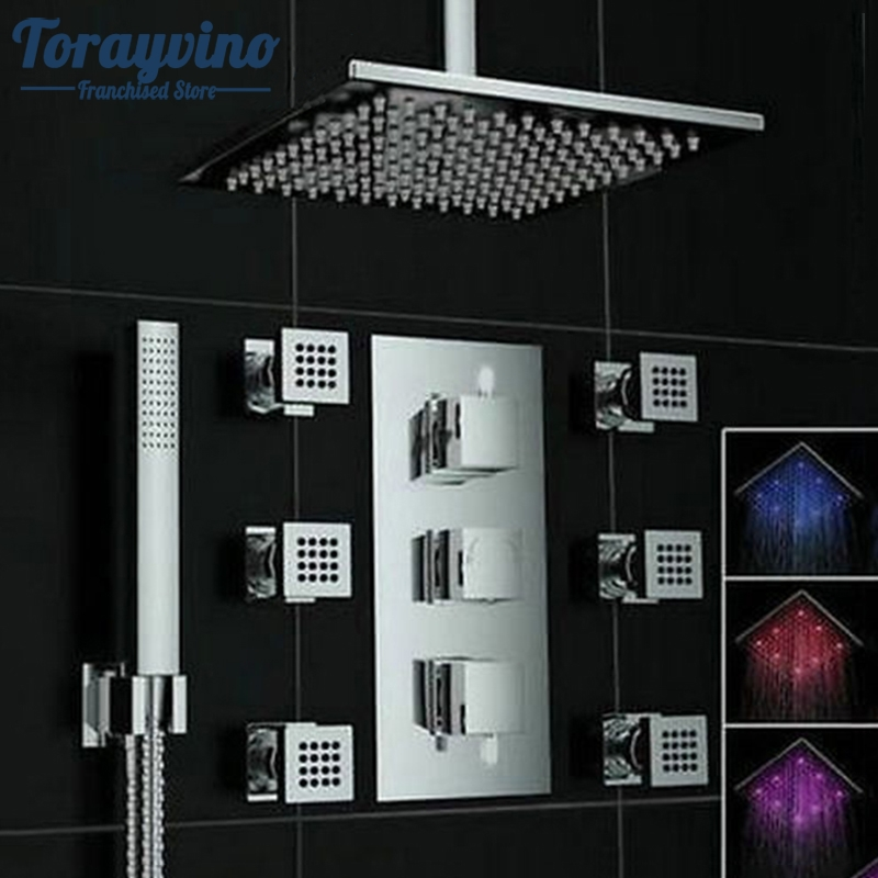 Torayvino Bathroom Shower Set Accessories Faucet Tap Hot and Cold Water Mixer LED Ceiling Shower Head Rainfall Waterfall Shower torayvino tap bathroom shower faucet with chrome polished cold
