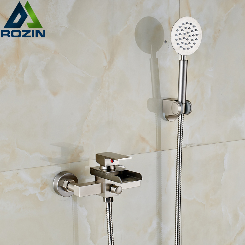 Luxury Wall Mounted Shower Faucet Mixer Taps with Handheld Shower ...