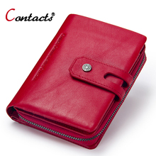 Купить с кэшбэком CONTACT'S Women Wallets Business Card Holder Women's Genuine Leather Wallets Women's Coin Purse Female Clutch Bag Ladies' Purse