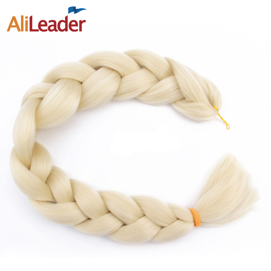 AliLeader 100 Kanekalon Fiber Hair Blonde Hair Extensions Jumbo Braid Expression Synthetic Hair Weave 36 Inch