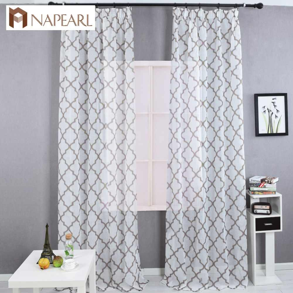 Modern geometric faux linen curtain semi-sheer jacquard kitchen short curtains bedroom living room curtains window treatments