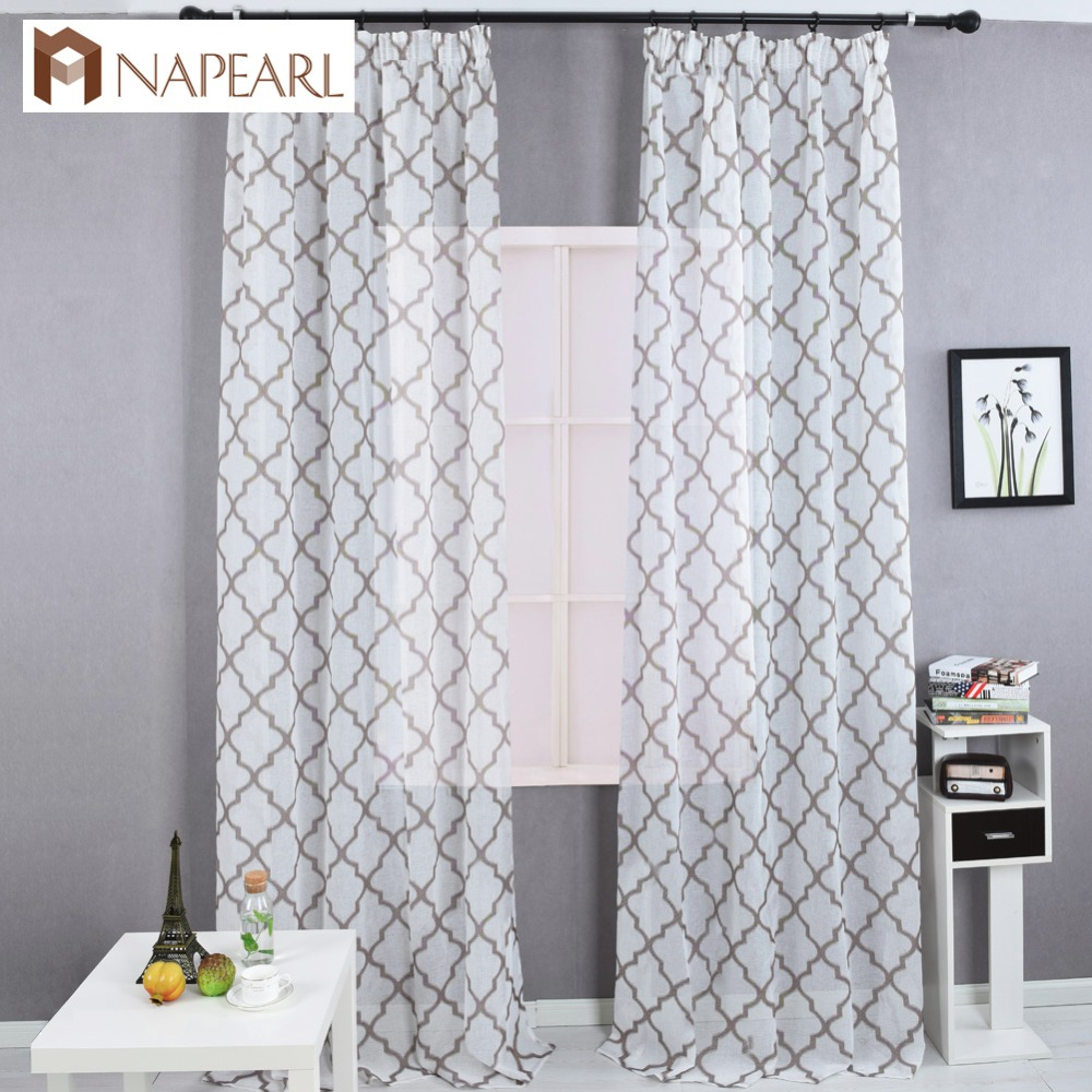 Geometric Jacquard Modern Curtains Simple Design Living: Modern Geometric Faux Linen Curtain Semi Sheer Jacquard