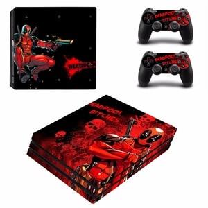 Image 2 - Deadpool עיצוב ויניל מדבקת עור מגן עבור סוני פלייסטיישן 4 פרו קונסולה + 2PCS בקר עור מדבקות כיסוי עבור PS4 פרו