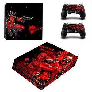 Image 2 - Deadpool Ontwerp Vinyl Skin Sticker Protector Voor Sony Playstation 4 Pro Console + 2 Stuks Controller Skin Sticker Cover Voor PS4 Pro