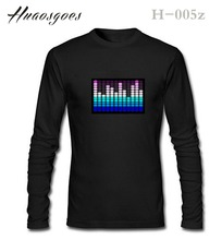 Equalizer T-Shirt Sound Activated LED Flashing Shirt Light Up Down Music Festival Party Equalizer LED T-Shirt Long Black Tshirt