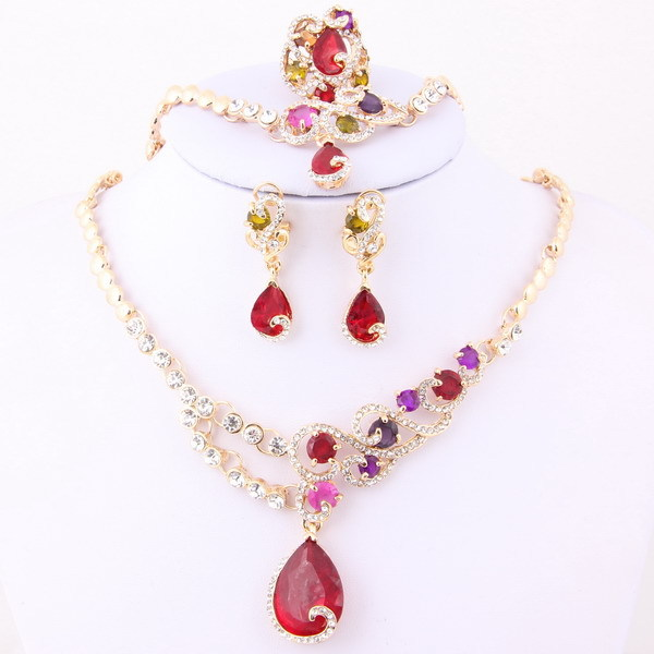 Hesiod Indian Wedding Jewelry Sets Gold Color Full Crystal: Fashion Women Colorful Austrian Crystal Necklace For