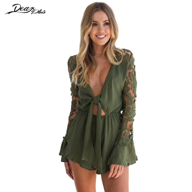 Crochet Hollow Out Long Sleeve Summer Beach Bohemian Playsuit Women Sexy V Neck Bow Knot Casual Loose Boho Jumpsuit Rompers