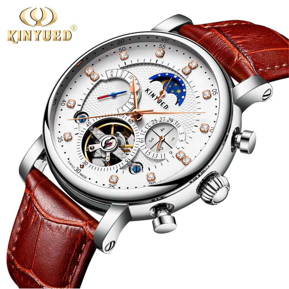 KINYUED 2019 nouveau Design en cuir véritable diamant affichage tourmilliards automatique mécanique montre hommes montres Top marque de luxe - 3