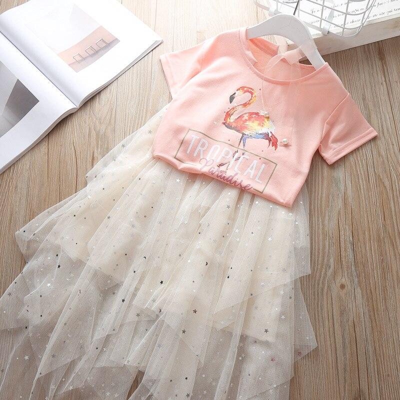 Flamingo Painting Art Toddler Baby Girls Short Sleeve Ruffle T-Shirt