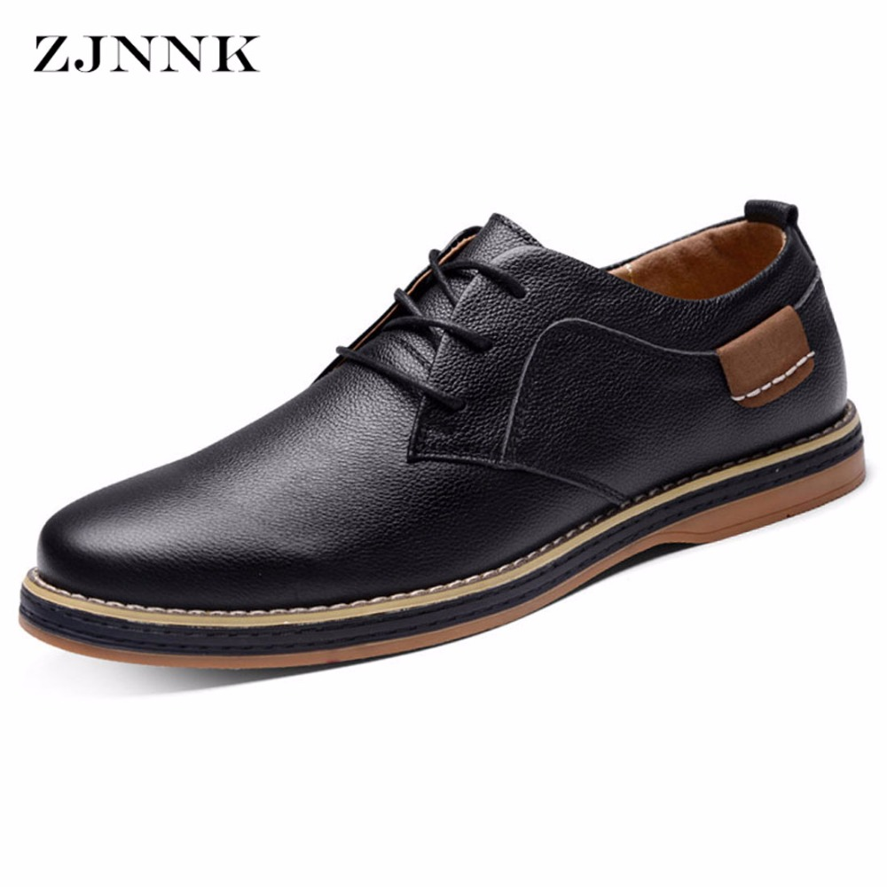 ZJNNK Bestselling Handmade Genuine Leather Shoes Black Brown Men Flats High Quality Chaussure Homme Real Leather Men Shoes
