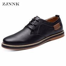 ZJNNK Bestselling Handmade Genuine Leather Shoes Black Brown Men Flats High Quality