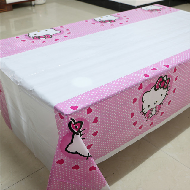 Hello kitty theme birthday party decoration disposable for Table exterieur hello kitty