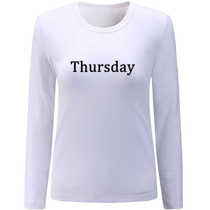 יום ראשון שבת שישי חמישי רביעי יום שלישי יום שני עיצוב נשים גבירותיי הדפסת T חולצה גרפי טי ארוך שרוול כותנה