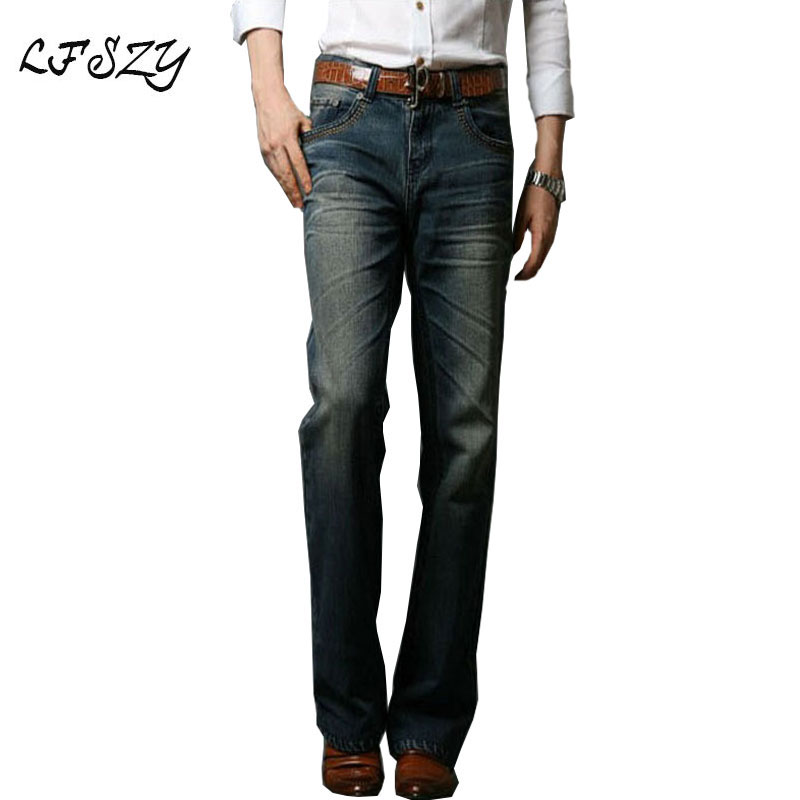 2019 Mens Flared Jeans Boot Cut Leg Flared Elastic Slim Fit Mid Waist Male Modis Designer Classic Denim Jeans Pants Biker Jeans