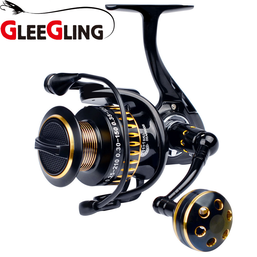 GLEEGLING GFR10 Aluminum 11+ 1BB Gear Ratio Up to 5.0:1 Spinning Fishing Reel with Exchangeable Handle for Casting Line nunatak original 2017 baitcasting fishing reel t3 mx 1016sh 5 0kg 6 1bb 7 1 1 right hand casting fishing reels saltwater wheel