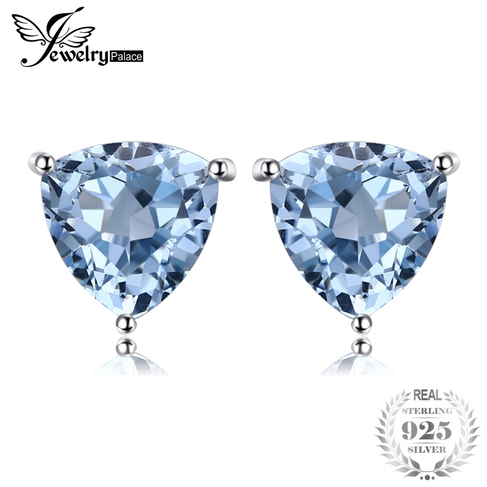 JewelryPalace Trillion 1.9ct Natural Sky Blue Topaz Birthstone Pure 925 Sterling Silver Stud Earrings For Women Fashion Jewelry