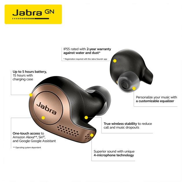 Jabra Elite 65t Alexa Enabled True Wireless Earbuds with Charging Case Copper Black