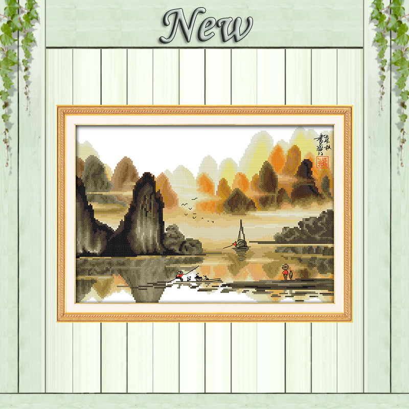 GuiLin Poetic Li River Beautiful Scenery 11CT Counted print on Canvas DMC 14CT Cross Stitch diy Embroidery kits Needlework Sets