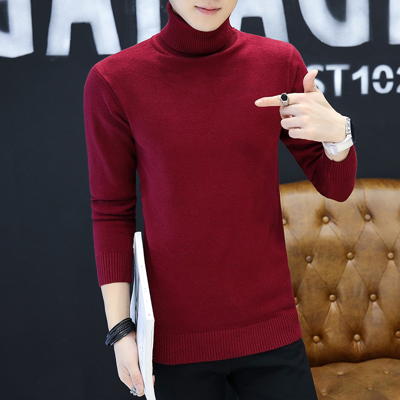 LEFT ROM 2019 Men Turtleneck Sweater Autumn Winter Solid Color Casual Sweater Men's Slim Fit Knitted Pullovers Bottoming Jumper 2