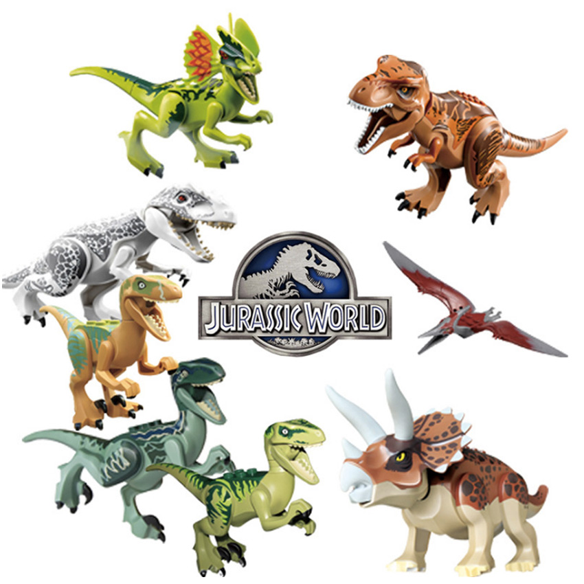 Legoing Jurassic World Park Dinosaur Animals Toys Figures Sets  Indominus Rex Velociraptor Building Blocks Toys For Kids Gift