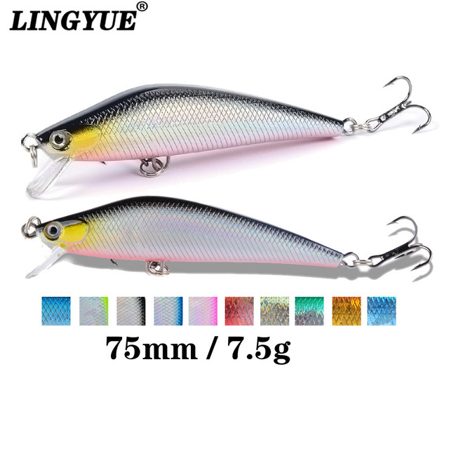 Best Price LINGYUE 1PCS 7cm 7.5g Artificial Floating Minnow Lure Tight Shot Fishing Lures Hard Bait Tackle 3D Fish Eyes Hot Sale