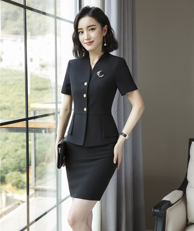 0868bb868713 Summer Fashion Women Skirt Suits Pink Blazer and Jacket Sets Ladies Work  Wear Business Clothes Office Uniform Designs-in Skirt Suits from Women s  Clothing ...