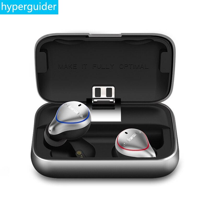 Hyperguider Bluetooth 5.0 Auricolare Senza Fili Halfsun T8 TWS Auricolari Impermeabile IPX7 Stereo HIFI gamma di 20 m con telecomando di controllo del MIC