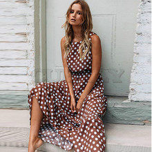 CUERLY Maxi Polka Dot Dress Women Boho Beach Party Chiffon Summer Elastic Waist Casual Elegant Long